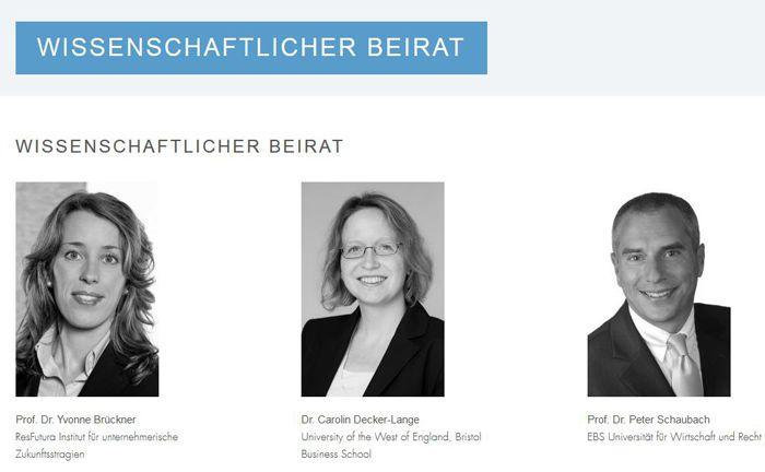 Screenshot der Website des Vufo-Fördervereins: Der wissenschaftliche Beirat des Preises besteht aus Yvonne Brückner, Carolin Decker-Lange und Peter Schaubach (v.l.n.r.).|© Verband unabhängiger Family Offices