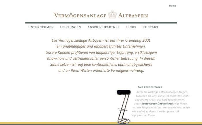 Screenshot der Website der Vermögensanlage Altbayern: Der Vermögensverwalter sucht nach Personal.|© Vermögensanlage Altbayern