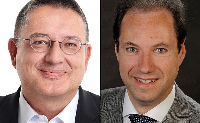 Uwe Krakau (l.) und Phillipe Meyer: Die beiden Experten sind sicher, dass die Technologie langfristig eine tragende Rolle im Banking wird. |© Avaloq
