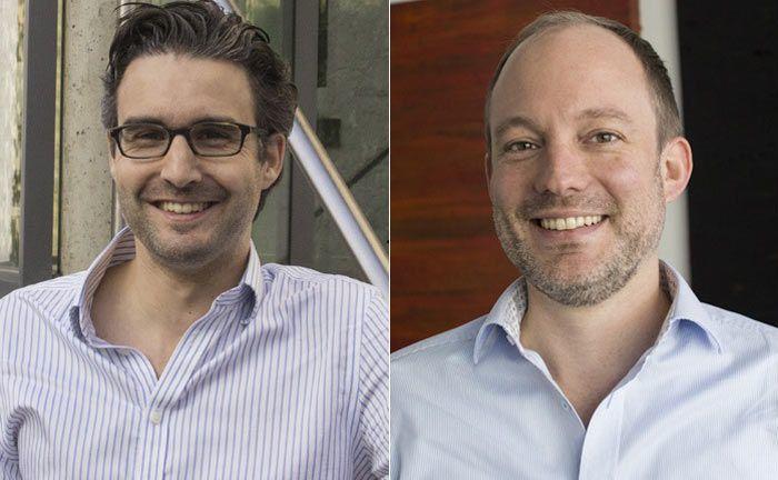 Die Vaamo-Gründer Oliver Vins (l.) und Thomas Bloch: Die beiden Finanzexperten hatten Vaamo 2013 gegründet.