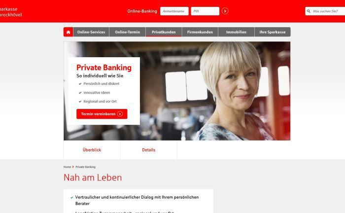 Screenshot der Webseite der Sparkasse Sprockhövel