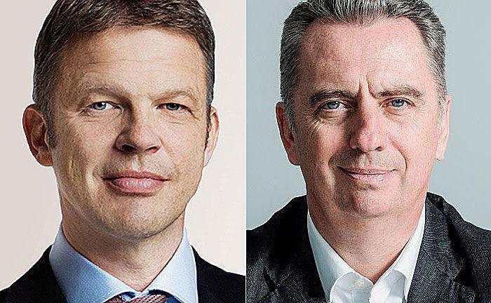 Christian Sewing (l.), stellvertretender Vorstandsvorsitzende der Deutschen Bank und Nicolas Moreau, Vorstandsmitglied der Deutschen Bank und Chef der Deutschen Asset Management.