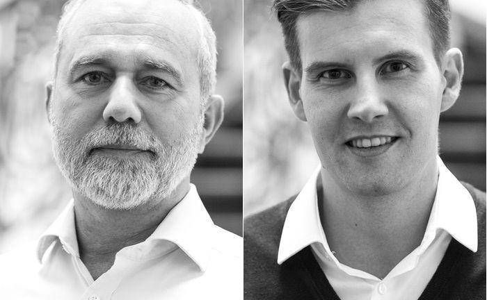 Uwe Zimmer (l.), Mitgründer und Geschäftsführer von Fundamental Capital, und Oliver Matyschik, leitender Geschäftsführer des Fintechs, das ab sofort mit neuer Bafin-Lizenz als Online-Vermögensverwalter durchstarten will.
