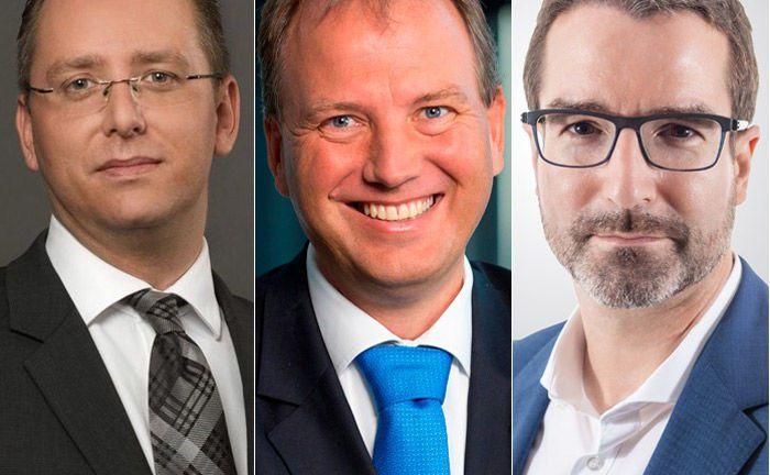 Drei der sechs Befragten zum Thema Research (v.l.): Manuel Hölzle, Uwe Burkert und Ulrich Ronge|© GBC, LBBW und Knoesel & Ronge