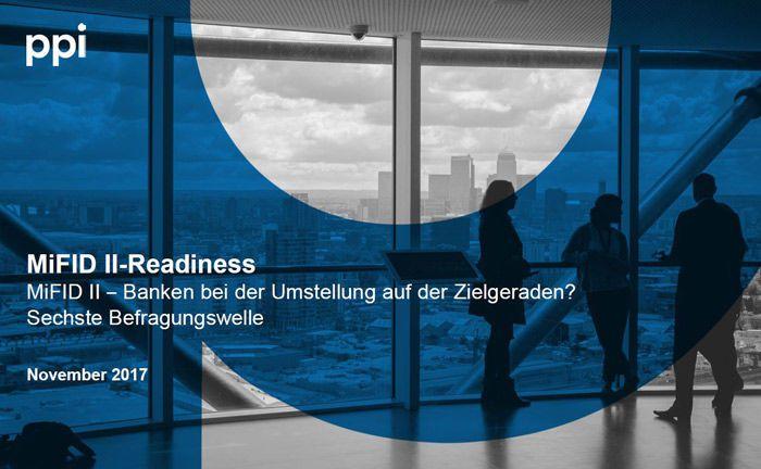 Deckblatt der aktuell 6. Befragungswellse des Mifid-II-Readiness-Index: Banken und Sparkassen hinken dem Zeitplan zur Umsetzung der Richtlinie deutlich hinterher.