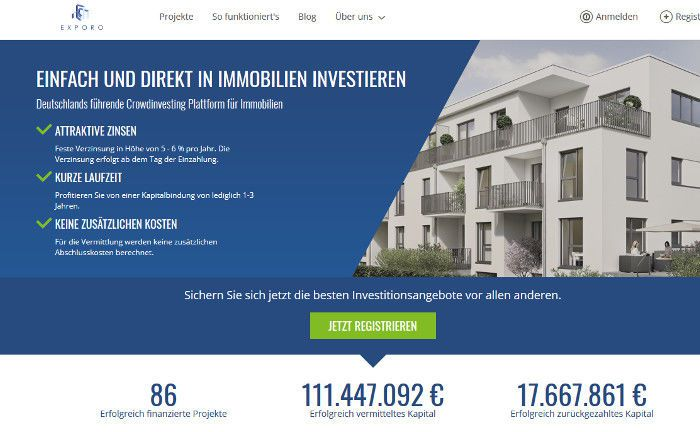 Startseite von Exporo: Die Immobilien-Crowdfunding-Plattform ergatterte Platz 3 im Gründerszene Wachstums-Ranking.