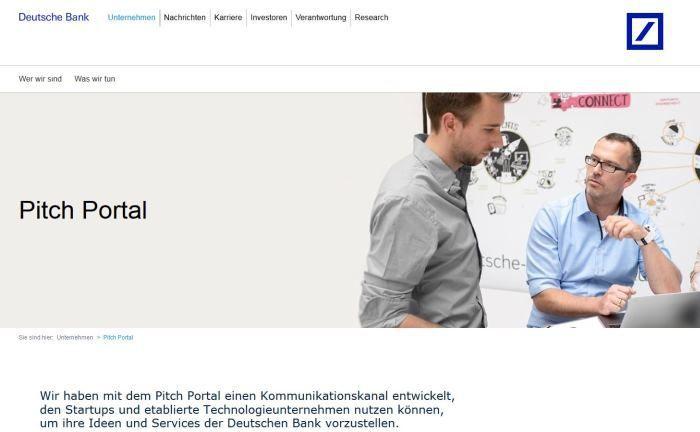 Webseite des Pitch Portals: Über ein Kontaktformular können Start-ups ihr Unternehmen präsentieren. |© Deutsche Bank, Mario Andreya