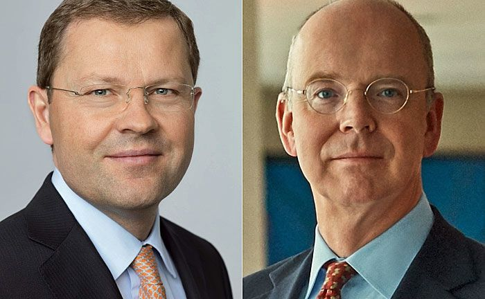 Jürg Zeltner (l.) und Martin Blessing: Der UBS-Veteran scheidet nach 30 Jahren aus, der frühere Chef der Commerzbank übernimmt.