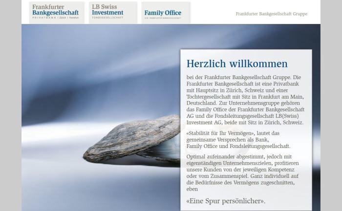 Webseite der Frankfurter Bankgesellschaft: Die Privatbank der Sparkassen-Finanzgruppe unterhält Standorte in Zürich und Frankfurt am Main.