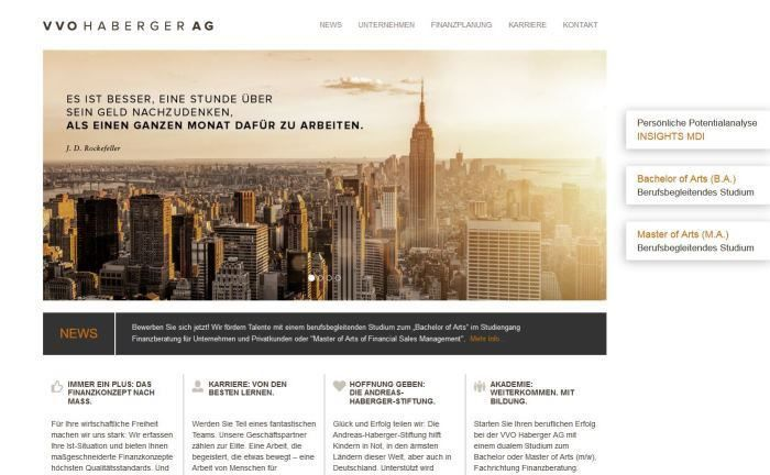 """Webseite von VVO Haberger: Ein berufsbegleitendes Studium zum """"Bachelor of Arts"""" im Studiengang Finanzberatung für Unternehmen und Privatkunden oder"""
