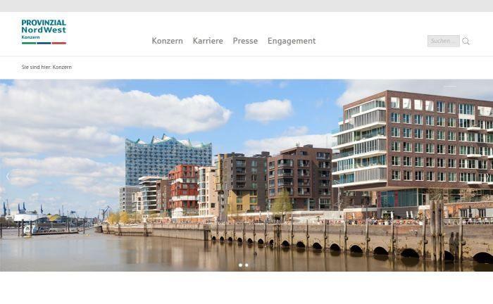 Webseite der Provinzial Nordwest: Der Konzern ist Teil der Sparkassen-Finanzgruppe und der zweitgrößte öffentliche Versicherungskonzern in Deutschland.|© Provinzial Nordwest