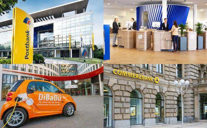 Collage mit Fotos von vier der 30 Finanzhäuser mit den meisten Google-Suchanfragen im Ranking