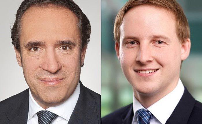 """Sven Oberle (li.) und Christian Katzer von der Wirtschaftsprüfungsgesellschaft EY:  """"Vorsicht ist insbesondere geboten bei Verwendung der Kryptowährung als alternatives Zahlungsmittel."""""""