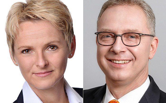 Sabine Meister (l.) und Jürgen Pütz: Die Generalbevollmächtigte und der Vorstandschef sind künftig für das vermögende Klientel der Volksbank verantwortlich. |© Volksbank Köln Bonn
