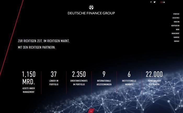 Webseite der Deutsche Finance Group: Das Unternehmen ist spezialisiert auf institutionelle Investmentstrategien in den Assetklassen Immobilien, Private Equity Real Estate und Infrastruktur.|© Deutsche Finance Group