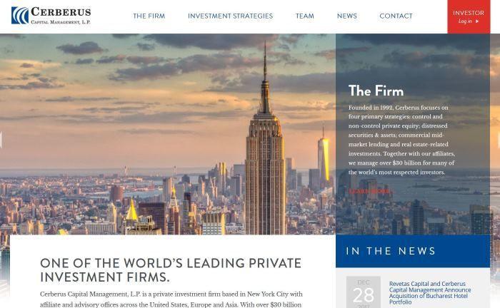Webseite von Cerberus: Die Beteiligungsgesellschaft ist bei der Commerzbank mit gut 5 Prozent zweitgrößter Aktionär nach der Bundesregierung.