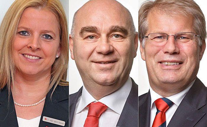 Der neue Vorstand der Sparkasse Bochum: Yvonne van den Hövel-Meyer (l.), Vorstandschef Jürgen Hohmann (M.) und Dirk Ziegler. |© Sparkasse Bochum