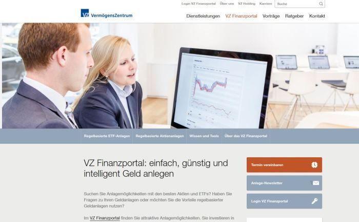 Webseite des VZ Vermögenszentrums