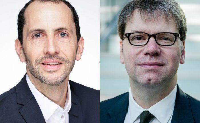Olaf Lorenz (l.) übernimmt bei der Commerzbank ab April die Bereichsleitung Produktmangement Wertpapier von Torsten Daenert, der einen anderen Bereich verantworten wird.|© Commerzbank