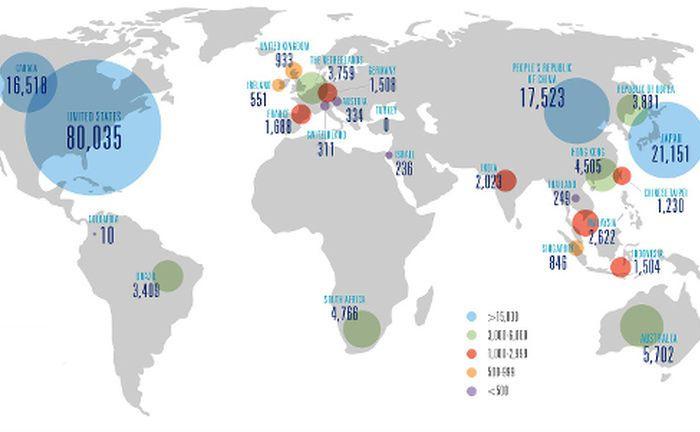 Weltweite Verteilung der Financial Planner in den 26 nationalen Mitgliedsorganisationen
