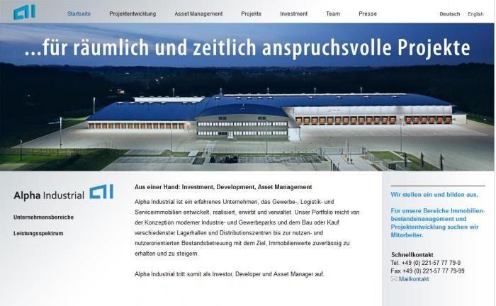 Website des Immobilienspezialisten Alpha Industrial: Das Luxemburger Unternehmen will künftig als Multi Family Office agieren.
