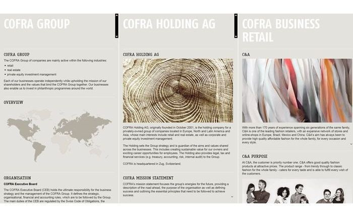 Screenshot der Website der Cofra Holding: Das Single Family Officer sucht für Düsseldorf einen Client Advisor.