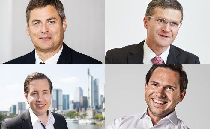 Entscheider von ausgewählten Online-Vermögensverwaltern (im Uhrzeigersinn, beginnend links oben): Gerald Klein von Growney, Burkhard Allgeier von Easyfolio, Sebastian Hasenhack von Investify und Lars Reiner von Ginmon.