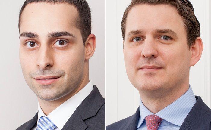 Oliver von Aesch (l.) und Andreas Lesniewicz: Den Conren-Analysten zufolge stellt die anstehende Refinanzierungswelle bei Unternehmensanleihen das größte Risiko für die Finanzmärkte dar.