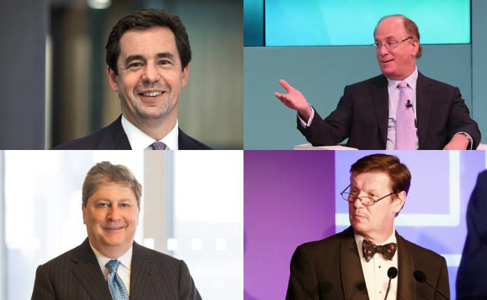 Die Chefs großer Vermögensverwalter: Peter Harrison (o.l., Schroders), Larry Fink (o.r., Blackrock), Seth Bernstein (u.l., Alliance-Bernstein), Luke Ellis (u.r., Man Group) | © Getty Images, Unternehmen