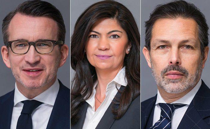 Übernehmen Führungsaufgaben bei der Deutschen Investment (v.l.): Frank Kreuz, Cigdem Yildirim Klippert und Juan Miguel Giersberg.