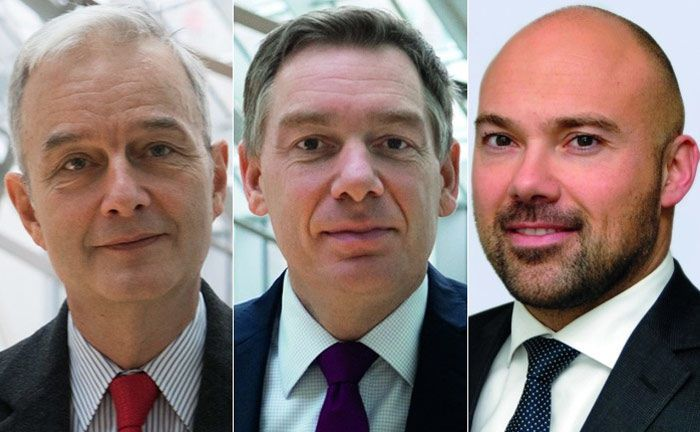 Dierk Müller (l.), Lars Fahnenbrock (Mitte, beide Deutsche Bank) und Markus Pimpl: Die drei sind vom Potenzial des neuen Eltif-Regimes überzeugt.|© Deutsche Bank, Partners Group