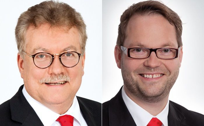 Andreas Fohrmann (l.) ist Vorstandsvorsitzender der Sparkasse Südholstein, Gordon Gifaldi betreut das Generationenmanagement im Private Banking des Instituts. | © Sparkasse Südholstein