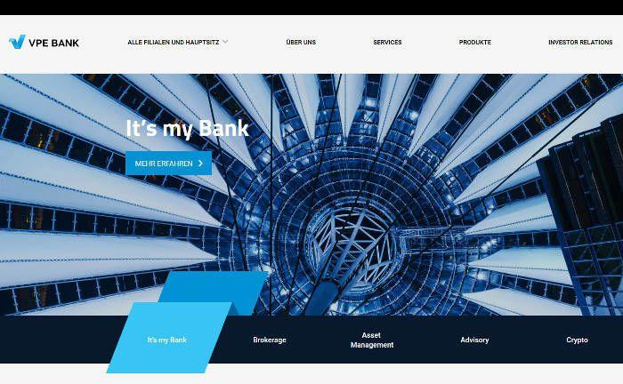 Startseite der VPE-Bank|© Screenshot, pbm