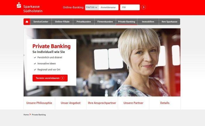 Screenshot der Website der Sparkasse Südholstein: Für das Private Banking sucht man Verstärkung.|© Sparkasse Südholstein