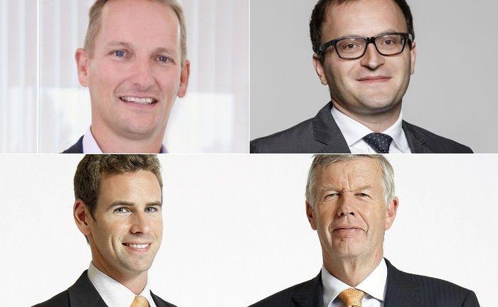 Die Köpfe hinter drei der fünf neuen Robo Advisor im Echtgeldtest (von links oben, im Uhrzeigersinn): Dirk-Jan Schuiten ist Geschäftsführer von Prospery, Tamaz Georgadze ist Gründer und Geschäftsführer von Weltsparen sowie Jens Ehrhard und sein Sohn Jan Ehrhardt von DJE Kapital.