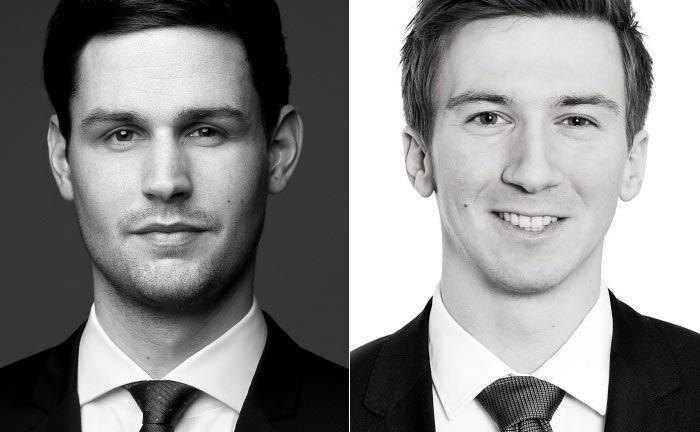 Alexander Stolz (l.) und Jens Wiegel begleiten bei zeb unter anderem Reorganisationsprojekte im Private-Banking-Umfeld.