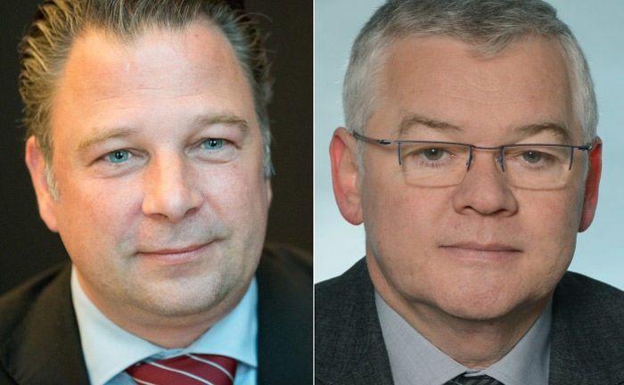 Jörg Seifart von der Gesellschaft für das Stiftungswesen (l.) und Dr Uwe Dyk von der Karl-Schlecht-Stiftung.