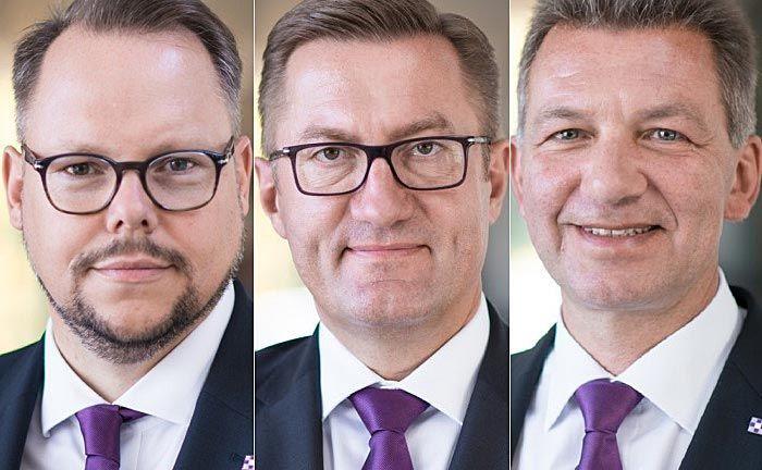 Vorstand Joachim Fröhlich (l.), Vorstandsvorsitzender Thomas Katzenmayer (M.) und Vorstand Christian Ferchland: Das Gremium reagiert mit dem Schritt auf regulatorische Anforderungen.|© Evangelische Bank