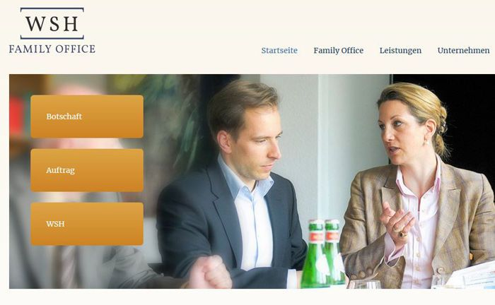Screenshot der Website des WSH Family Office: Das Multi Family Office sucht derzeit einen Family-Office-Betreuer.