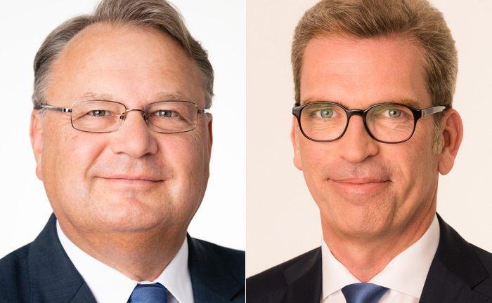 Holger Hatje (l.) verantwortete 13 Jahre das Amt des Vorstandsvorsitzenden der Berliner Volksbank. Am 1. Januar 2019 übernimmt sein bisheriger Stellvertreter Carsten Jung den Posten.