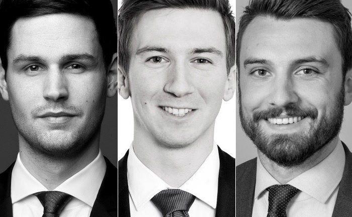 Alexander Stolz (v.l.n.r.), Jens Wiegel und Nicolas Seidler begleiten bei zeb Projekte im Private-Banking-Umfeld.