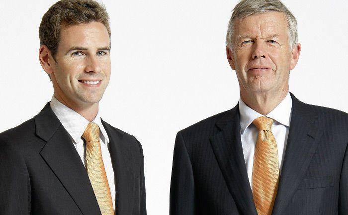 Jan Ehrhardt (l.) und sein Vater Jens Ehrhardt, Gründer und Vorstand von DJE Kapital