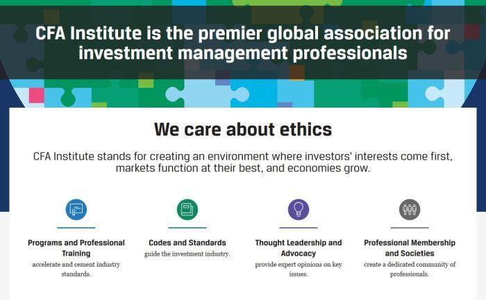 Webseite des CFA Instituts.