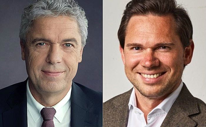 Jörg Ludewig (l.), Generalbevollmächtigter der Haspa und Sebastian Hasenhack Mitgründer und Geschäftsführer von Investify.