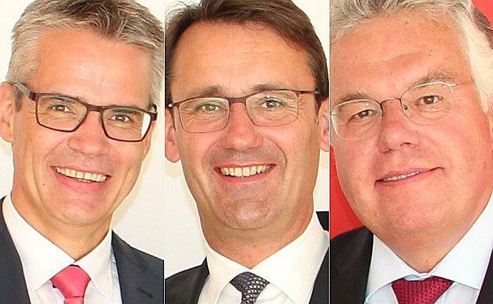 Der neue stellvertretende Vorstand Carl-Christian Kamp (l.), der Vorstandsvorsitzende Rainer Langkamp (M.) und Vorstand Heinz-Bernd Buss. |© KSK Steinfurt