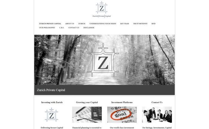 Webseite der Zurich Private Capital Group