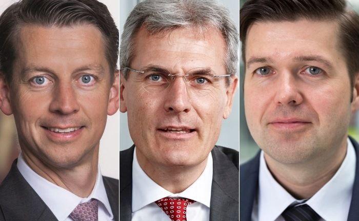 Franz von Abendroth (l.), Leiter Infrastruktur bei Berenberg, Thomas Mann, Thomas Mann (M.), Investmentchef bei Talanx Asset Management und Thomas Bayerl, Leiter Infrastruktur Fremdkapital der Meag.