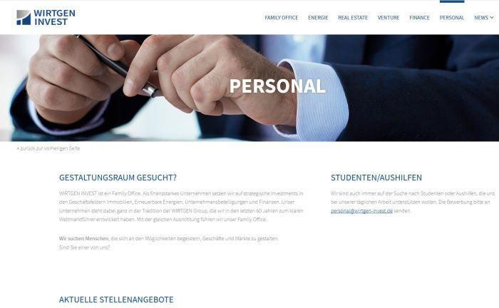 Webseite von Wirtgen Invest.