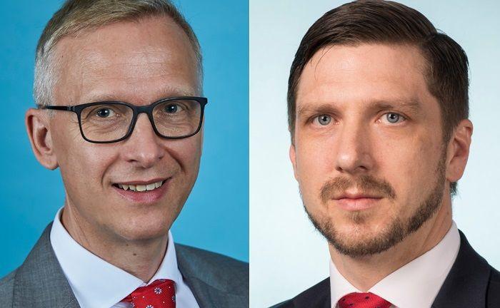 Olaf John (l.) leitet das neu eröffnete Frankfurter Büro des Vermögensverwalters Insight Investment. Unterstützt wird er dabei von Wolfgang Murmann.|© Insight Investment