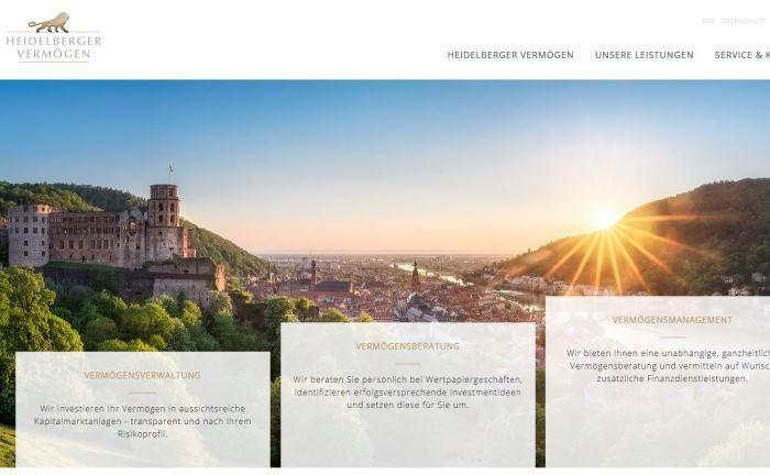 Ist eine 100-prozentige Tochter der Heidelberger Volksbank: Screenshot der Homepage der Heidelberger Vermögen